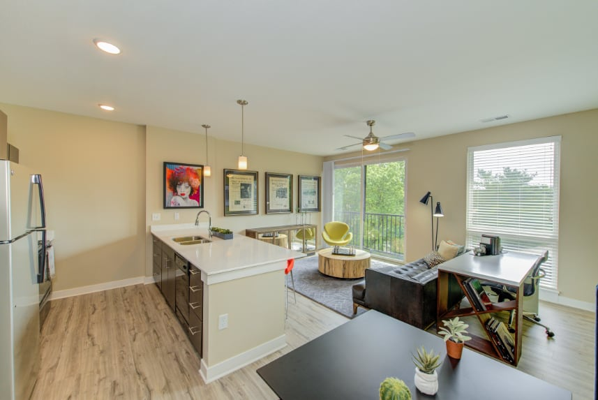 Open kitchen in a Indianapolis apartment.